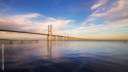 Sunset over Tagus River, Rio Tejo, Ponte Vasco da Gama Bridge, Lisbon, Portugal Canvas Print