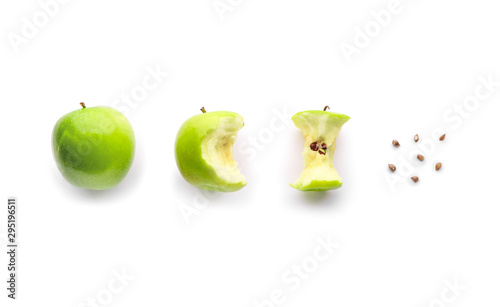 Fresh ripe apples and core on light background Wallpaper Mural