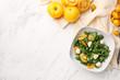 Leinwandbild Motiv Fresh tomatoes and salad on light background