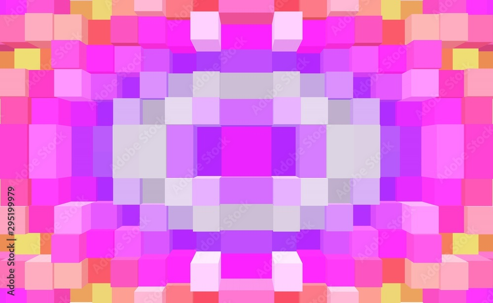 Leinwandbild Motiv - bravissimos : Cube 3d extrude symmetry background, ornament render.