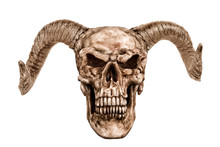 Skull Of Demon, Isolated On A White Background. Cut Out.