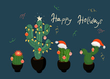 Banner With Christmas Decorated Cacti. Vector Image