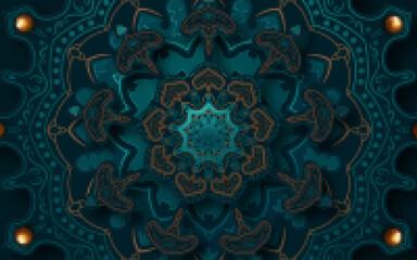 Paper graphic of islamic geometric art. Islamic decoration. Vector illustration