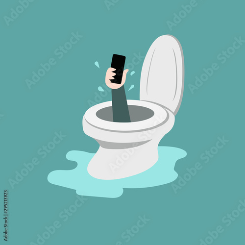 smartphone in toilet bowl Canvas Print