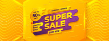 Super Sale Background With Orange, Yellow, And Purple Color. Sale Banner Template Design.