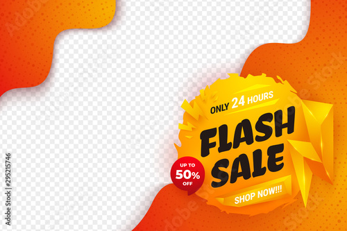 Obraz Flash sale background with orange, yellow, and red color. Sale banner template design. - fototapety do salonu