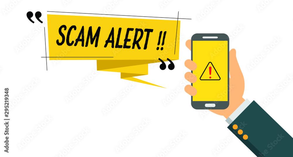 Fototapeta Vector illustration of scam alert notification on smart phone