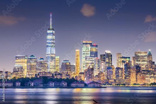 Door stickers New York New York, New York, USA skyline from the harbor with Ellis Island