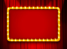Red Light Sign With Gold Frame...
