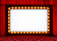 Theater Or Movie Sign On Red S...
