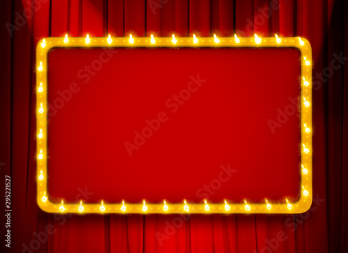 Fotomural Red light sign with gold frame on theatre or cinema curtain