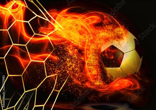 ゴールネットを突き破るサッカーボール