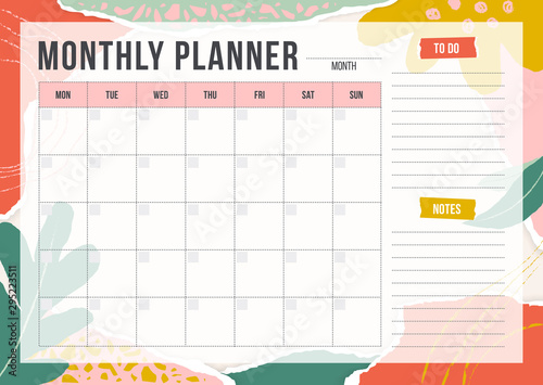 Obraz Floral monthly planning template with pieces of torn paper, flower and chalk line. Blank monthly planner with notes in pastel colors. Simple stylish organizer design. Vector illustration - fototapety do salonu