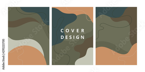 Fototapety, obrazy: Set of modern design template with abstract organic shapes in pastel colors. Minimal stylish background for brochure, flyer, banner, poster and branding design. Vector illustration