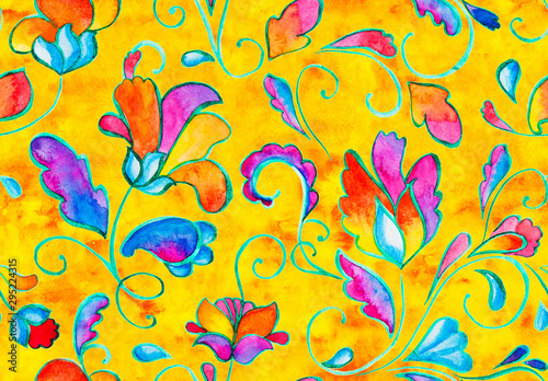 Türaufkleber Künstlich Hand drawn flower seamless pattern (tiling). Colorful seamless pattern with flowers, paisley and leaves. Flowers on a yellow background. Doodle style. Perfect for textile, cover design.