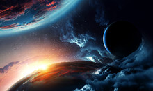 Abstract Planets On Space Text...