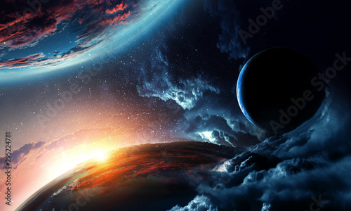 Abstract planets on space texture - 295224781