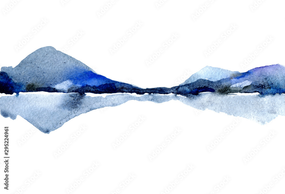 Fototapety, obrazy: Watercolor landscape with Islands in the water. Silhouette of a mountain on the lake. Illustration is hand-drawn in traditional Japanese ink. Shades of ultramarine, Indigo. Nature background