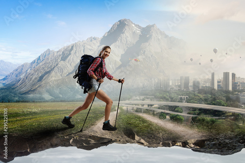 Travelling female tourist with backpack
