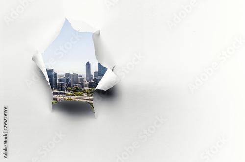 Fotografía Effect of torn paper hole
