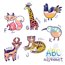Cute Zoo Alphabet Drawing In A Chalk Style. Set Of Animals For Learning The English Alphabet F - J. Hand Drawn Illustration