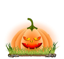 Hallowenn Cartoon Pumpkin On G...