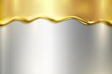 Gold Melt On Silver Foil Backg...
