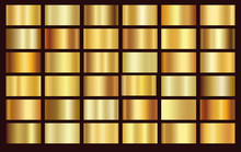 Gold Foil Texture Background Set. Vector Golden, Copper, Brass And Metal Gradient Template.