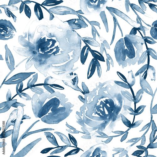 Tapeta niebieska  watercolor-floral-pattern-in-blue-and-white