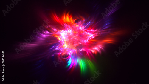 Fotomural  3D rendering abstract colorful fractal light background
