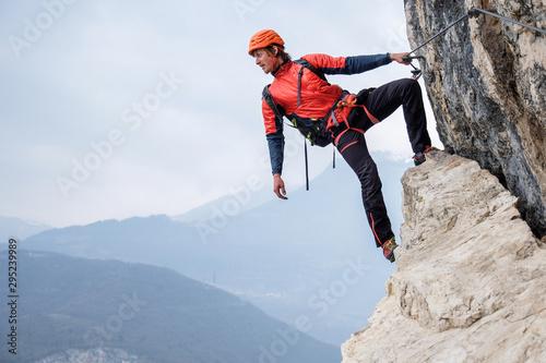 Obraz na płótnie Via ferrata climber
