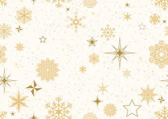 Christmas Pattern with Golden Decoration - Abstract Seamless Pattern or Background with Golden Snowflakes and Stars and Glitters, Vector Illustration