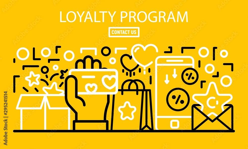 Fototapeta Loyalty program banner. Outline illustration of loyalty program vector banner for web design