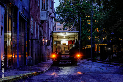 Obraz Stockholm, Sweden A delivery truck makes a delivery. - fototapety do salonu