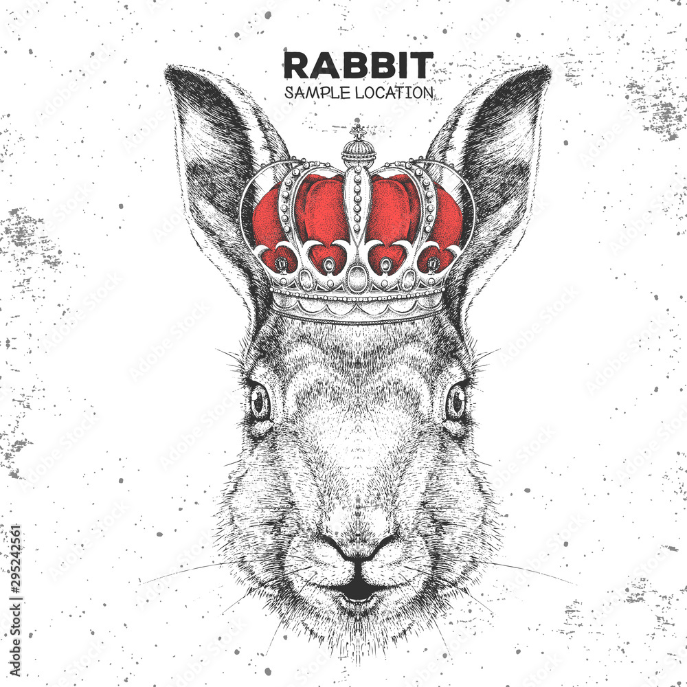 Fototapety, obrazy: Hipster animal rabbit in crown. Hand drawing Muzzle of bunny