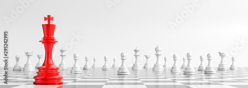 Fotomural Business concept design with chess pieces on white background