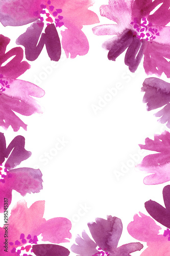 Tuinposter Vlinders Watercolor floral frame in pink and purple.