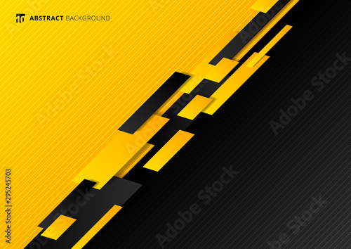 Fotografie, Tablou Abstract technology template geometric diagonal overlapping separate contrast yellow and black background