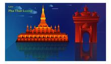 Laos Travel Landmarks. Flat De...