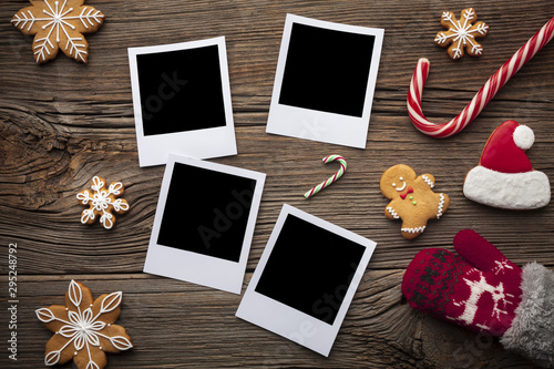 Top view photos on a table with mock-up Fototapet