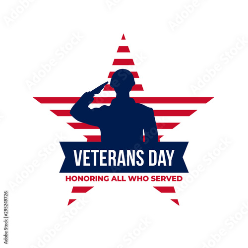 Fotomural Happy veterans day honoring all who served retro vintage logo badge celebration poster background vector design