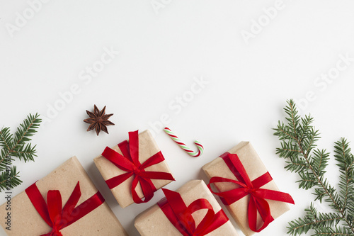 Fotografiet  Top view xmas gifts with copy space