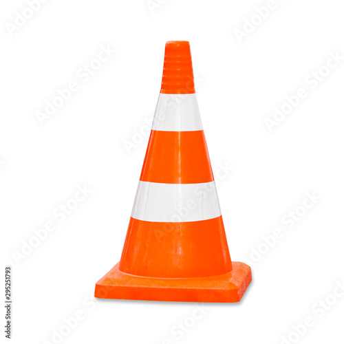 Obraz na plátně Traffic cone. Road sign isolated on white