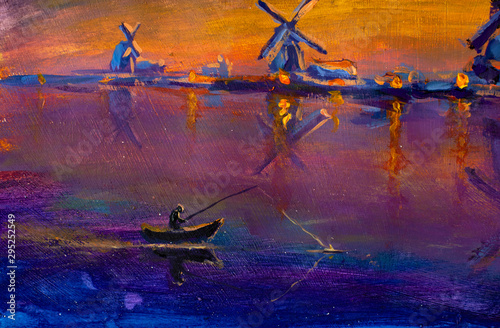 Montage in der Fensternische Hochrote Fishind and Windmill farm river in Holland illustration. Fisherman in a boat and Windmills farmland scene. Windmill river water landscape painting