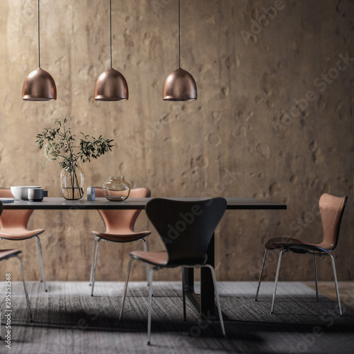 Fotografía  Dining Room Set in Contemporary Copper Design (focused) - 3d visualization