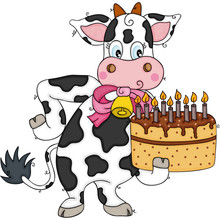 Cute Cow Holding A Birthday Cake