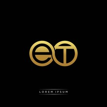 ET Initial Letter Linked Circle Capital Monogram Logo Modern Template Silver Color Version
