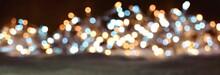 Abstrakter  Panorama Hintergrund Mit Bokeh Lichtern - Weihnachten Und Silvester Hintergrund