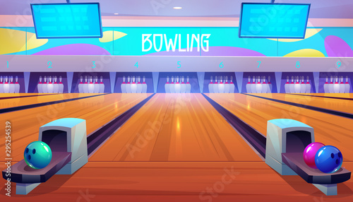 Fotografiet Bowling alleys with balls, pins and scoreboard screens
