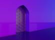 Leinwanddruck Bild - Golden arabic ornament on the purple wall with islamic door. 3D illustration
